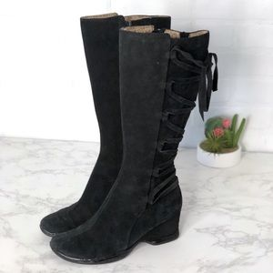 Sofft Black Suede Boots Lace Up Calf